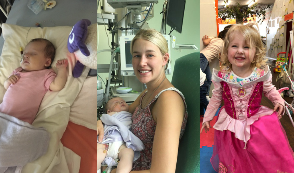 A collection of three images, baby in hospital bed, mother holding her baby in hospital and the same baby now a toddler at a party