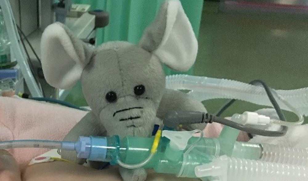 the elephant mascot in childrens' intensive care unit
